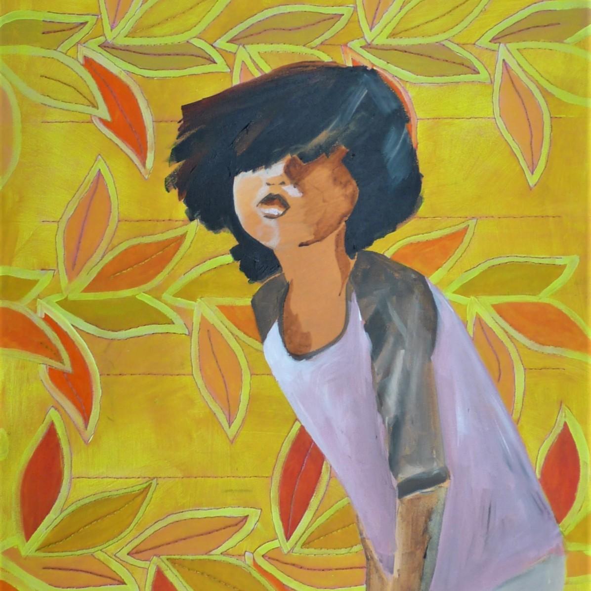 #1 - € 700 - 60 x 80 cm - Acrylverf en borduurgaren op canvas