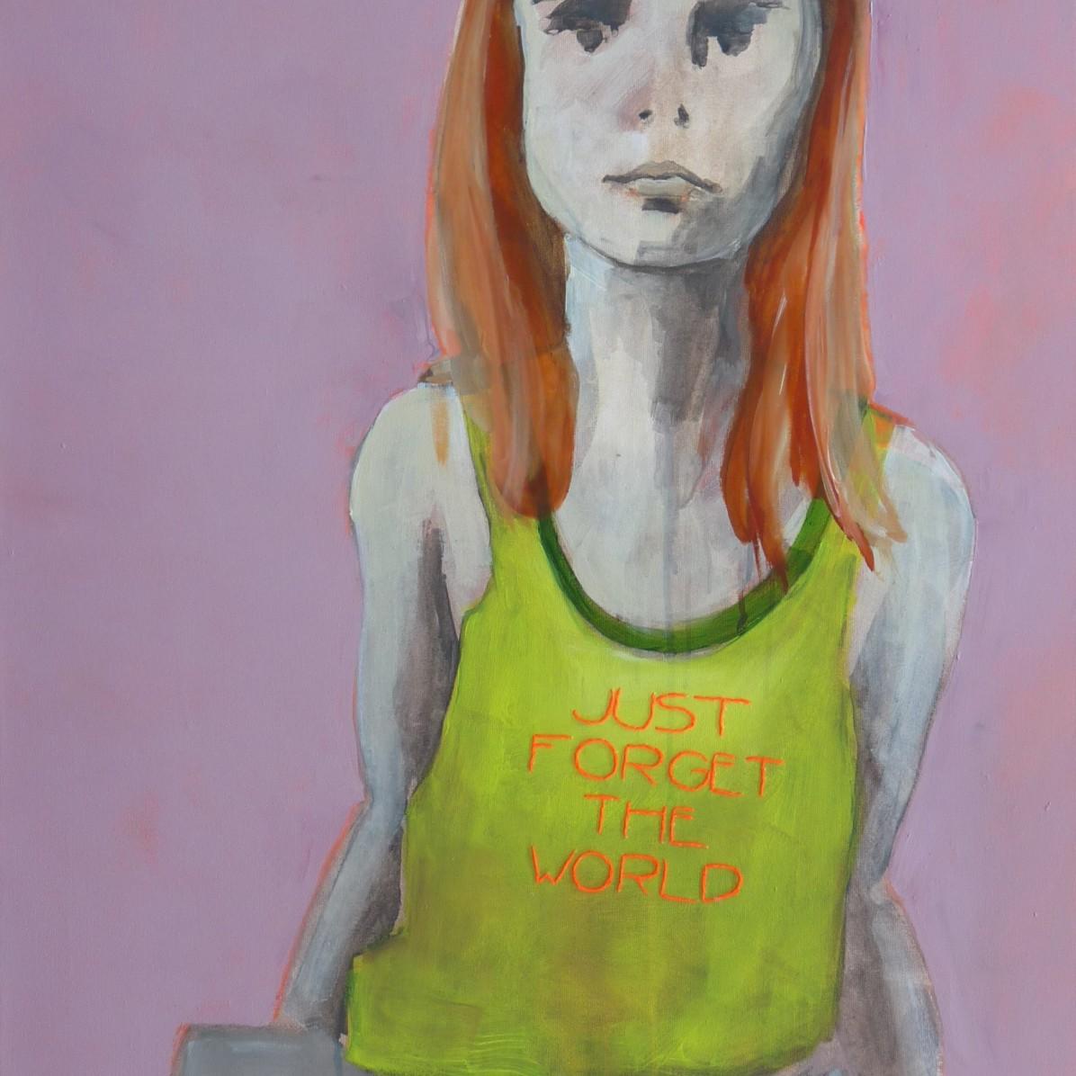 #10 - SOLD - 60 x 90 cm - Acrylverf en borduurgaren op canvas