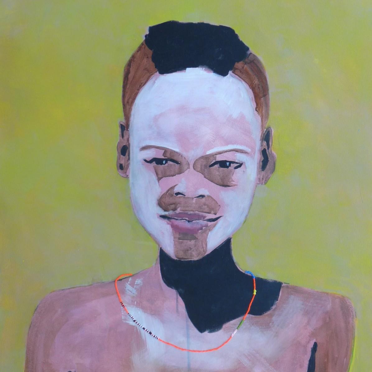 #11 - € 700 - 60 x 80 cm - Acrylverf en borduurgaren op canvas