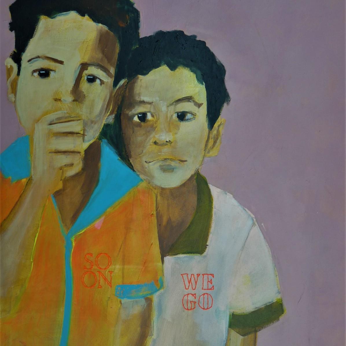 #14 - € 700 - 60 x 80 cm - Acrylverf en borduurgaren op canvas