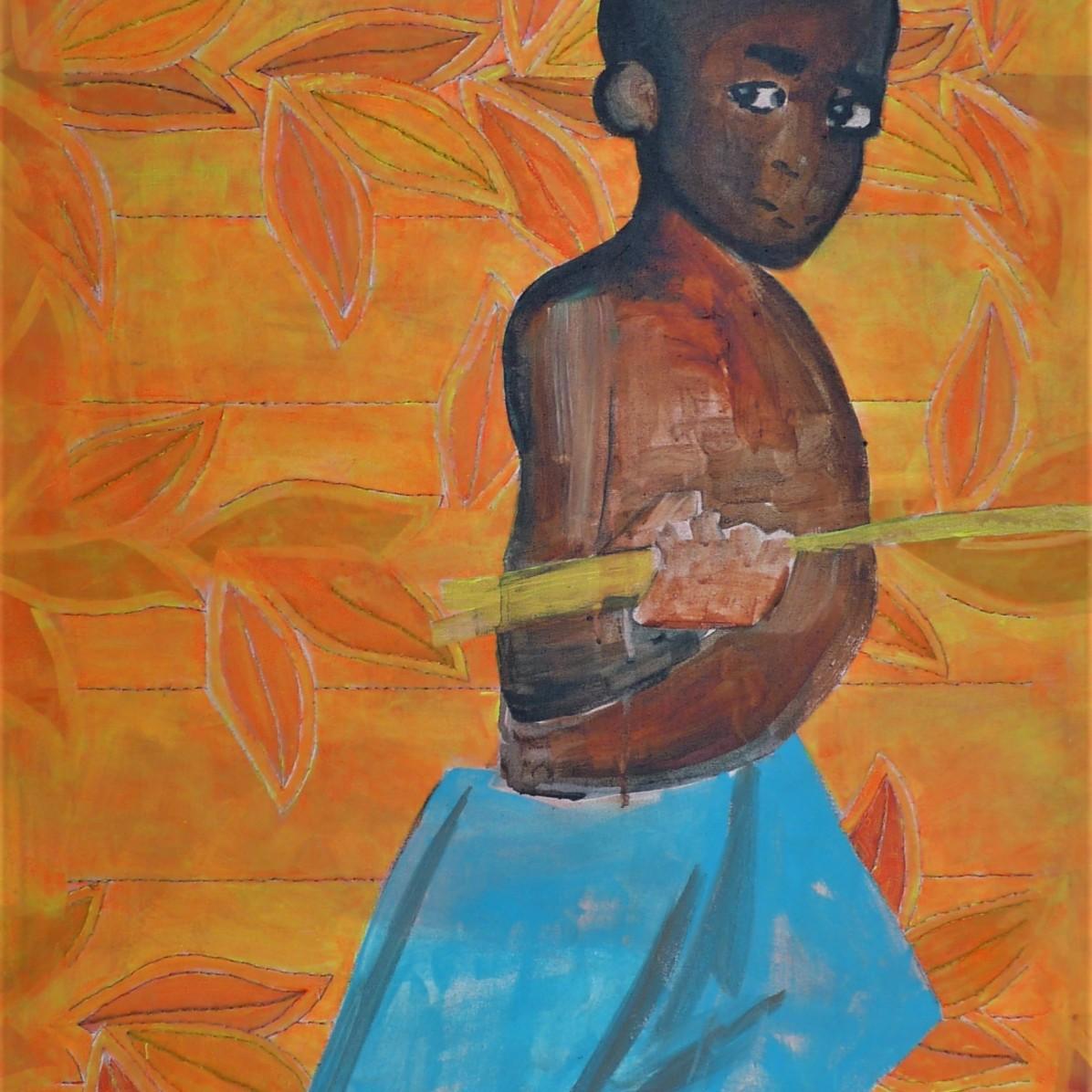 #2 - SOLD - 60 x 80 cm - Acrylverf en borduurgaren op canvas