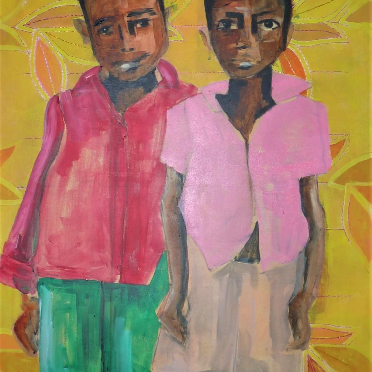 #3 - € 700 - 60 x 80 cm - Acrylverf en borduurgaren op canvas
