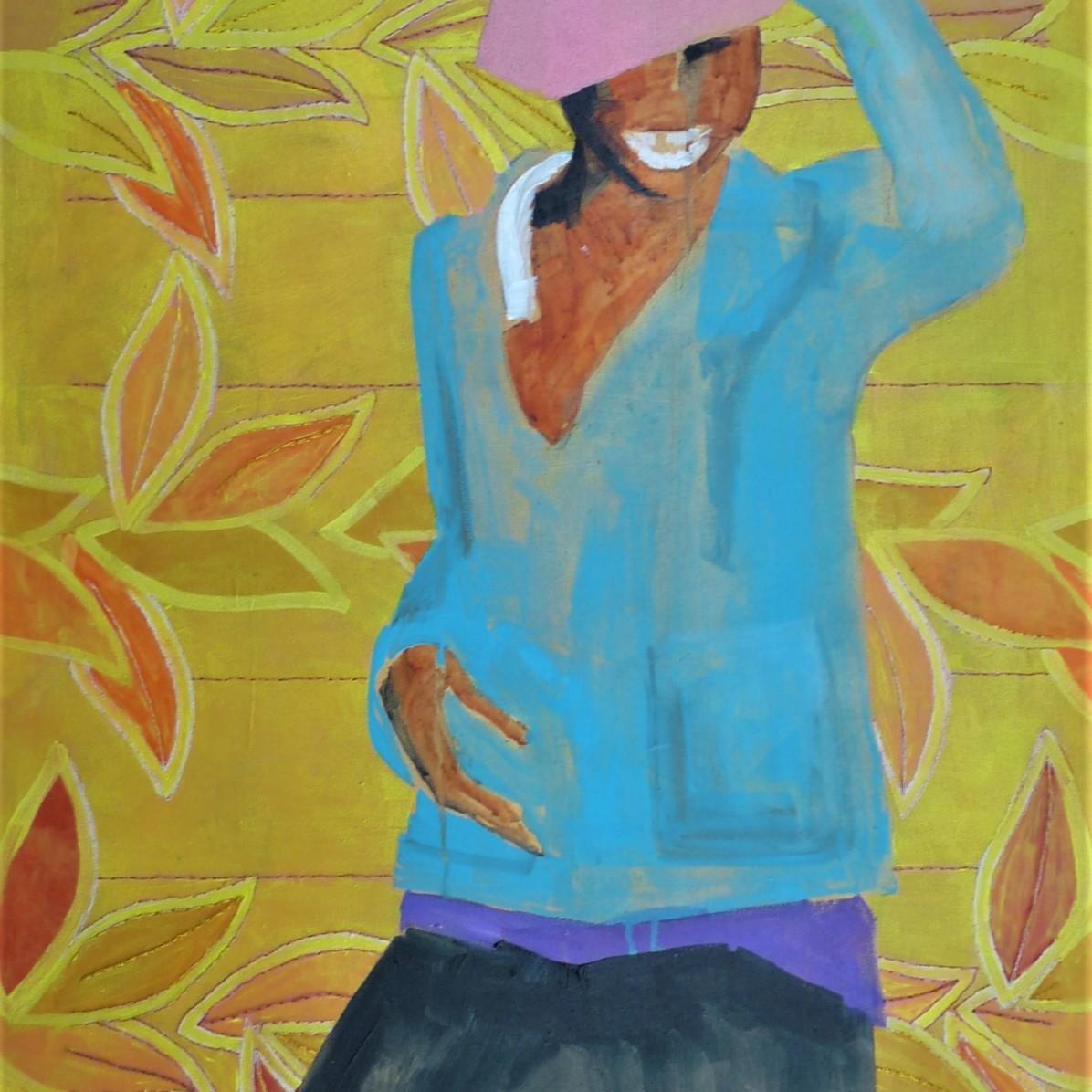 #4 - SOLD - 60 x 90 cm - Acrylverf en borduurgaren op canvas