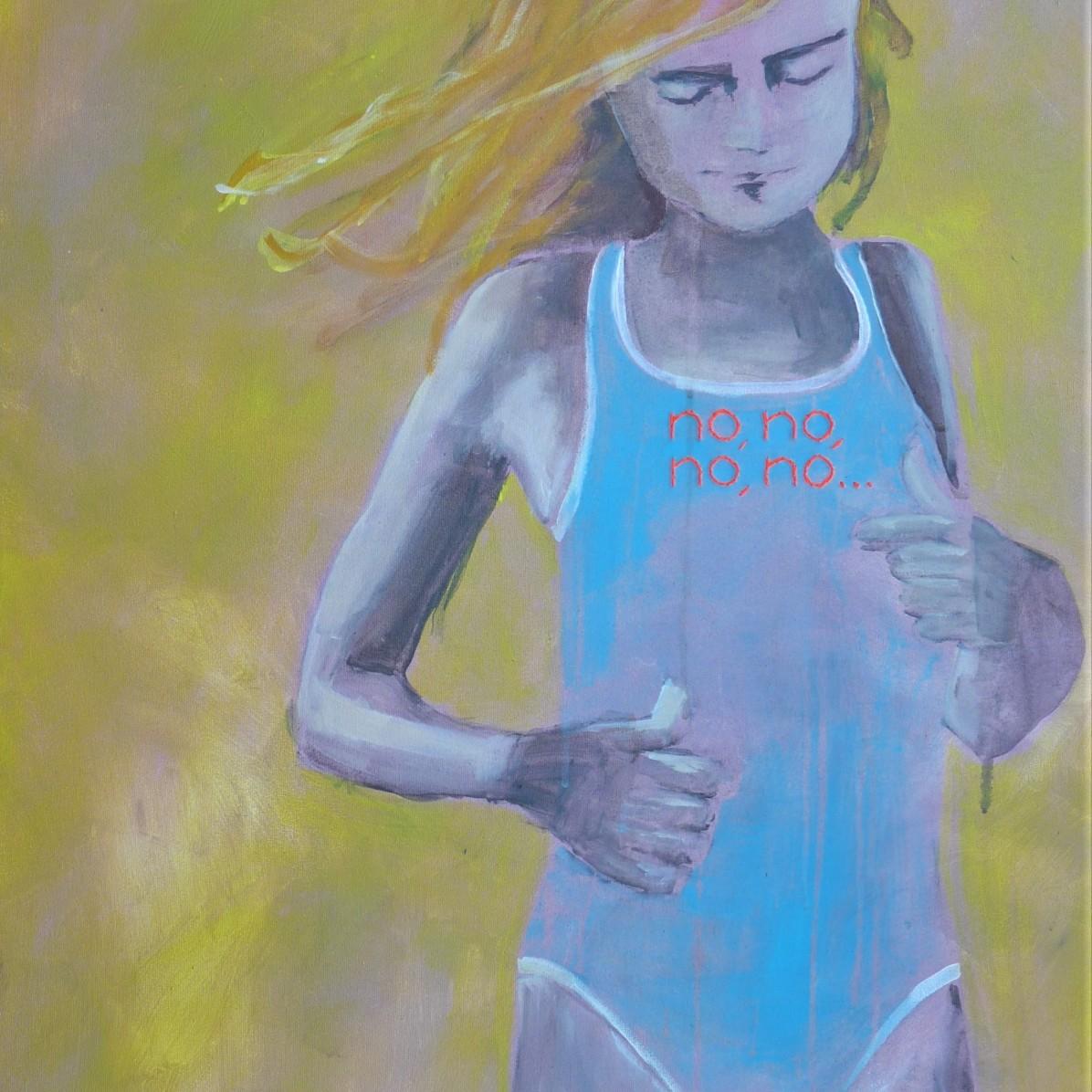 #7 - € 750 - 60 x 90 cm - Acrylverf en borduurgaren op canvas