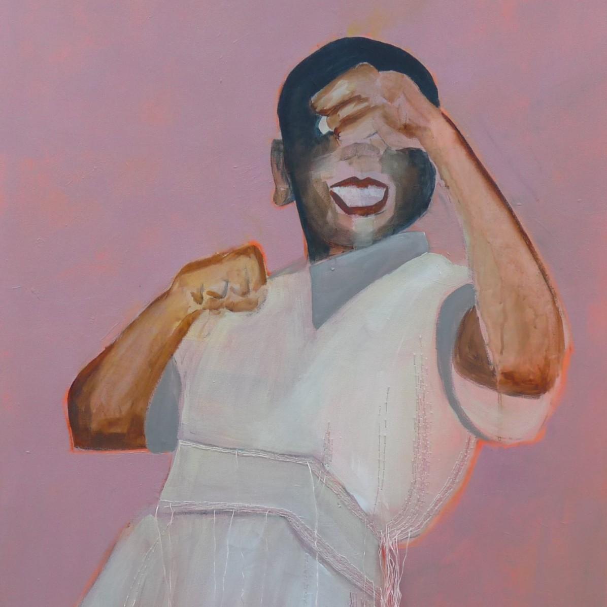 #8 - € 700 - 60 x 80 cm - Acrylverf en borduurgaren op canvas