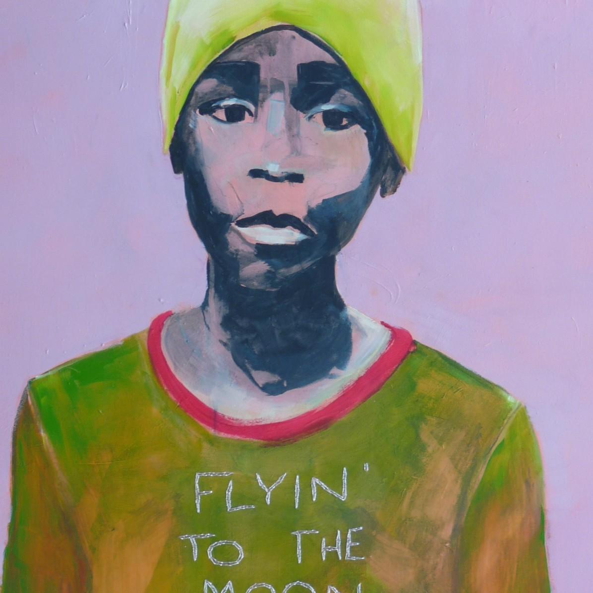 #9 - SOLD - 60 x 80 cm - Acrylverf en borduurgaren op canvas