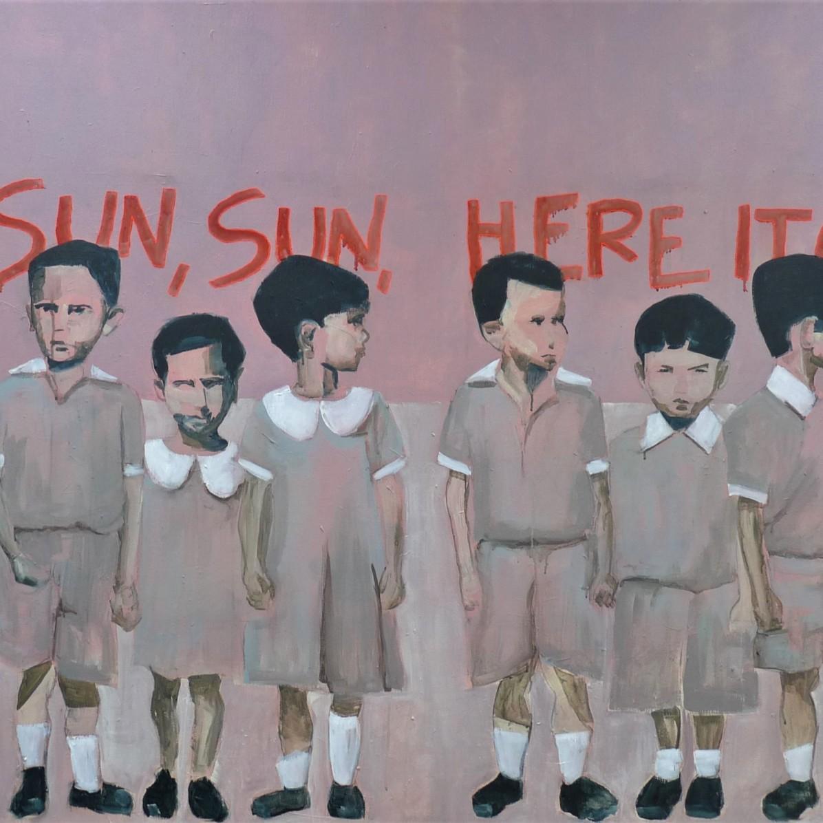 #15 - SOLD - 120 x 200 cm - Acrylverf en borduurgaren op canvas